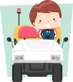Kid Boy Airport Electric Vehicle Illustration
