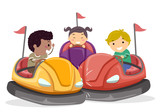 Stickman Kids Bump Car Illustration