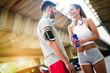 Leinwanddruck Bild - Fitness training for couple in love