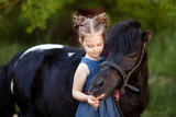 Cute little girl and pony in a beautiful park - 217142009