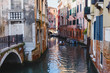 Venice, Italy - May 24, 2018: Beautiful architecture of a unique Venice. Postcard with a view of the city.