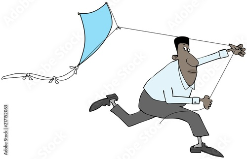 Ilustracja czarny człowiek działa podczas próby uzyskania latawca w powietrzu.