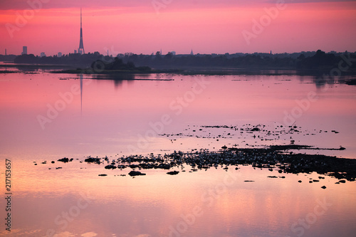 Canvas Candy roze Bright, colorful evening landscape over the river Daugava of pink and purple tones. Dramatic sunset scenery in Latvia, Northern Europe.