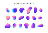 Gradient iridescent shapes. Set isolated liquid elements of holographic chameleon design palette of shimmering colors. Modern abstract pattern, bright colorful paint splash fluid. - 217158450
