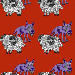 sheep and wolves seamless pattern