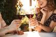 Leinwandbild Motiv Loving couple sitting in cafe by dating