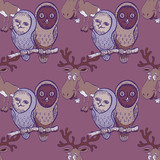 owls and elk seamless pattern - 217164017