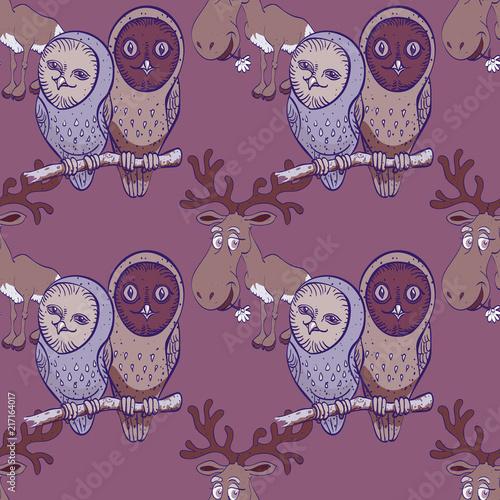 Fotobehang Uilen cartoon owls and elk seamless pattern