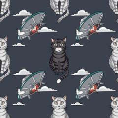 ufo, cat seamless pattern