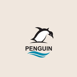 black penguin bird icon isolated with sea waves