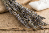 A branch of dried lavender on sackcloth
