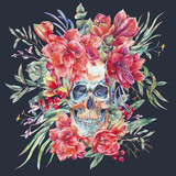 Watercolor skull with red flower Amaryllis, green tropical leaves - 217173013