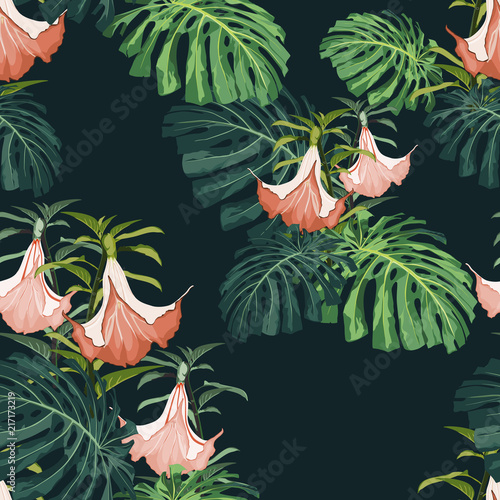 Trendy vector seamless beautiful artistic dark tropical pattern with exotic flowers. - 217173219