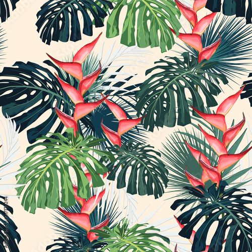 Dark and bright tropical leaves with jungle plants. Seamless vector tropical pattern with green palm and monstera leaves and heliconia flowers. Light background. - 217173244