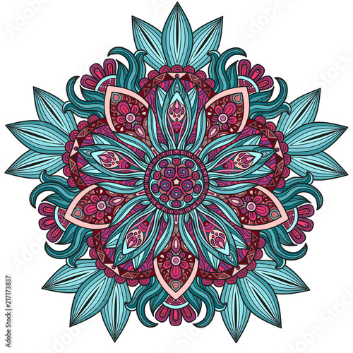 Vector round abstract circle. Mandala style. Decorative element, colored circular design element. - 217173837