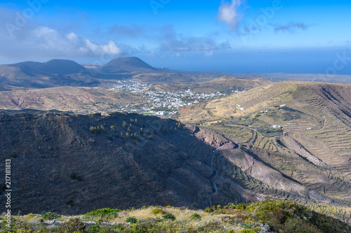 Coastal view from Haria Viewpoint in Lanzarote, Spain