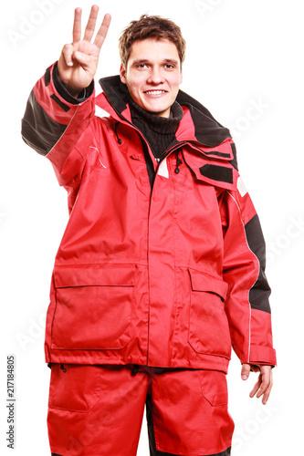 Foto Murales Male outdoorsman making gestures