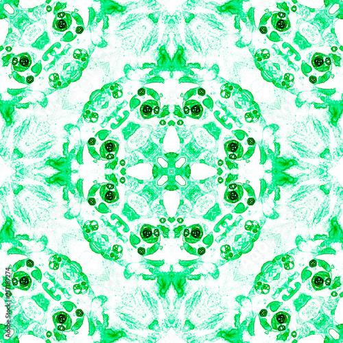 Green seamless pattern. Artistic delicate soap bubbles. Lace hand drawn textile ornament. Kaleidosco - 217187274