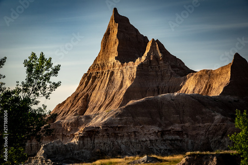 Plexiglas Zwart Sandstone peak in Badlands National Park, South Dakota
