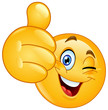 Thumb up winking emoticon - 217188426