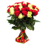 bouquet of fresh colorful roses - 217194012