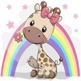 Cute Cartoon Giraffe with flower