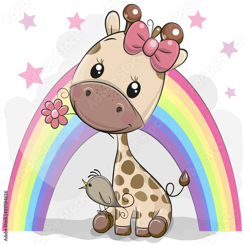 Naklejka Cute Cartoon Giraffe with flower