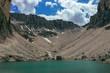 Quadro Pisciadu Lake and Sas da Lech in the Dolomites, during Summer