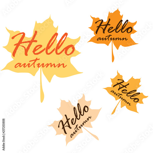 hello autumn banners fall foliage backgrounds vector illustration