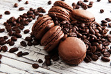 Sweet and colourful french macaroons or macaron with coffee - 217205849