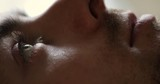 Close-up of man wake up in early morning open eyes - 217208299