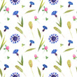 Leinwanddruck Bild - Watercolor seamless pattern with wild cornflower and clover