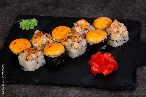 Foto Spatwand Sushi bar Japanese sushi set
