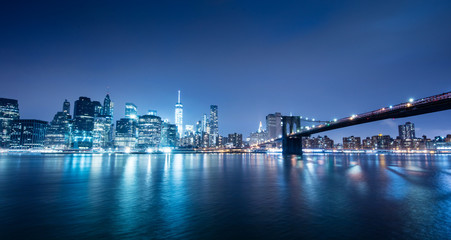 New York city sunset panorama