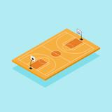Basketball court isometric flat design