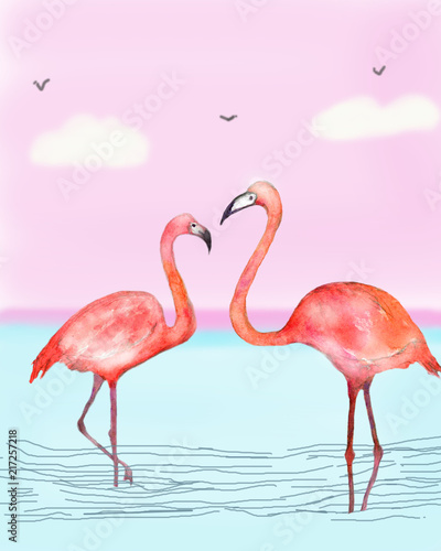 watercolor pink flamingo on a pink background in water - 217257218