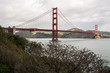 Panorama of suspension bridge above channel