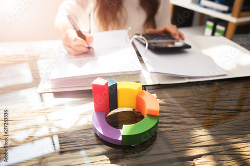 Close-up Of Multi Colored 3d Pie Chart