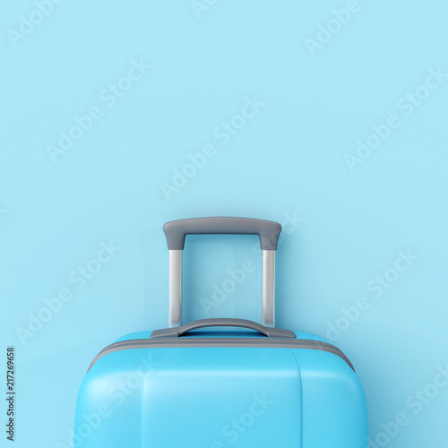 Blue suitcase on pastel blue background. minimal travel concept. 3d render © aanbetta