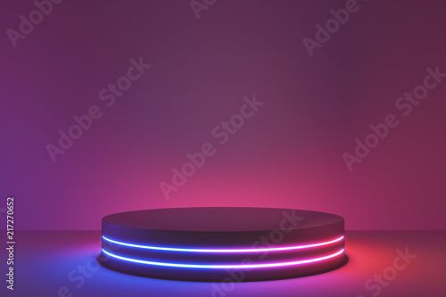 Blank product stand with neon lights on dark room background. 3d rendering © aanbetta