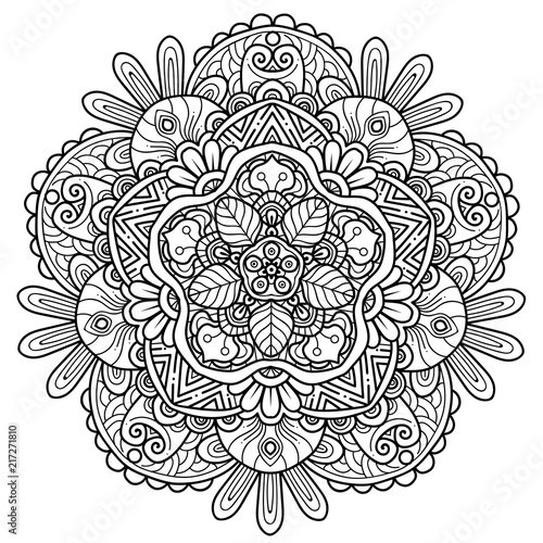 Fototapeta Black and white mandala vector isolated on white. Vector hand drawn circular decorative element.