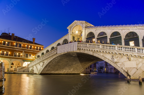 Leinwandbild Motiv Venice at night. Rialto bridge