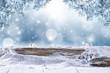 Leinwanddruck Bild - desk of free space and winter background