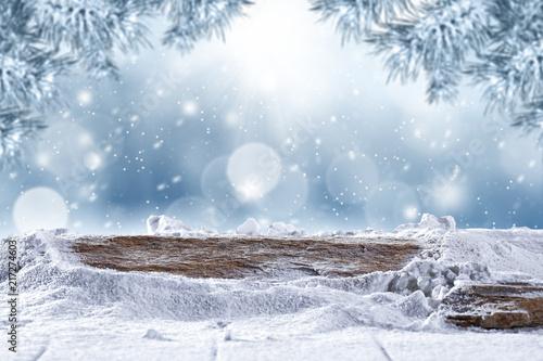 Leinwanddruck Bild desk of free space and winter background