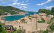 Leinwanddruck Bild - der beliebte Badeort Tossa de Mar an der Costa Brava in Katalonien,Spanien