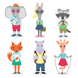 Cute animals set with characters going to school: elephant,racoon, fox, giraffe, zebra and hippo.