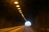 Blurred motion background of road tunnel in Norway - 217279871