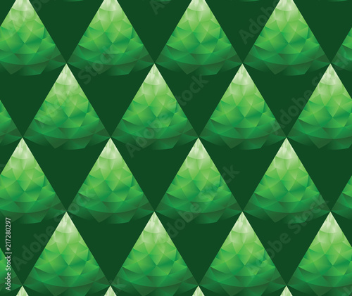 Aluminium Abstractie Triangle green polygon geometry seamless pattern.