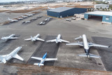 Airplanes ready to take off on the runway