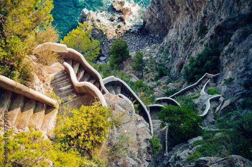 Leinwanddruck Bild Amalfi Coastline. Stairs in the steep coast. Amalfi, Italy
